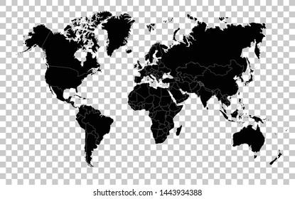 Hi Detail Black Vector Political World Map illustration on transparent background