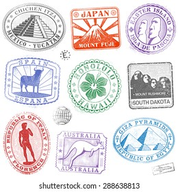 Hi detail collection of Colorful monument and culture icon stamps from all over the world