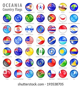 Hi detail vector shiny buttons with all Oceania flags. Every button is isolated on it's own layer