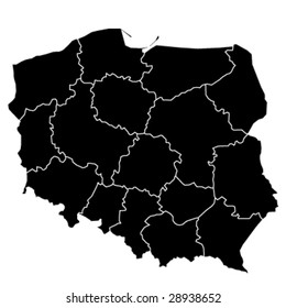 hi detailed black vector map of poland, version 2
