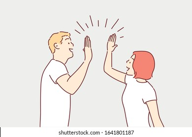 hi five couple man and woman. Hand drawn style vector design illustrations.