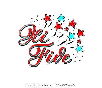 Hi Five - a hand drawn vector illustration in retro pin-up style with lettering, red on blue with red and blue stars and dots on white background. For prints, web, apparel, badges, banners, signs.