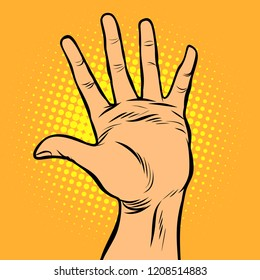 hi five hand gesture. Comic cartoon pop art retro vector illustration drawing
