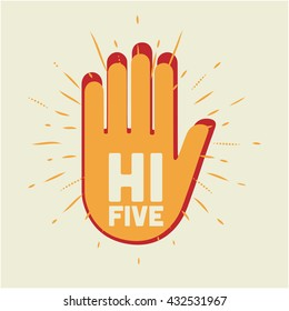 Hi Five illustration. Two hands.