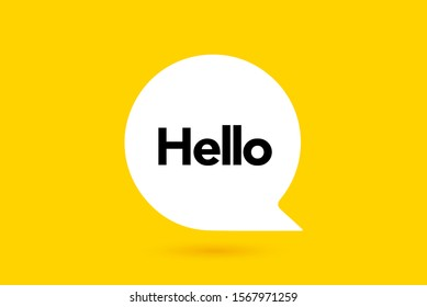 Hi, Hello. Banner, speech bubble, poster and sticker concept with text. White bubble message on bright yellow background. Vector Illustration