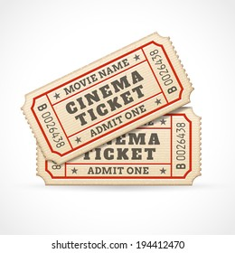 Hi quality vector cinema tickets Composition. Each ticket is organized in 3 layers, separating background from art and text.