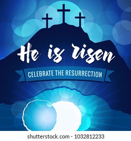 Hi is risen holy week easter navy blue banner. Easter christian motive, vector invitation to an Easter Sunday service with text He is risen on a background of rolled away from the tomb stone of Calvar