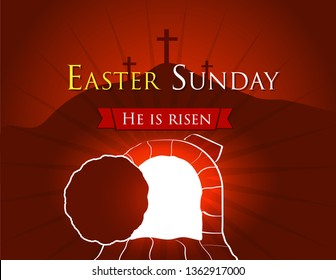 Hi is risen holy week easter banner. Easter christian motive, vector invitation to an Easter Sunday service with text He is risen on a background of rolled away from the tomb stone of Calvary