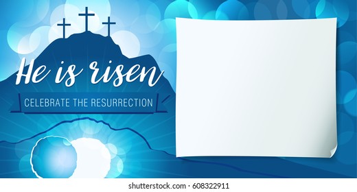 Hi is risen holy week poster. Easter christian motive, vector invitation to an Easter Sunday service with text He is risen on a background of rolled away from the tomb stone of Calvary