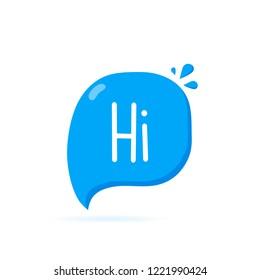 Hi. Sticker for social media content. Hand drawn speech bubble icon. Modern flat vector illustration.
