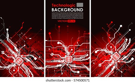 hi tech bacground technology absract  sci-fi cyberpunk design circuits in red style