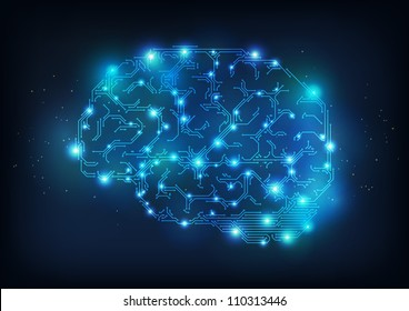 Hi tech brain made of electric lines, symbolizing the progress of computer technologies, EPS10 vector