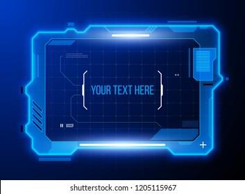 Hi tech rectangle frame. Futuristic techno border design.