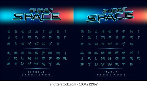 hi tech techno font future movie style. Metal chrome effect alphabet letters design for poster, banner, logo. vector illustration