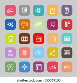 Hi technology line flat icons, stock vector