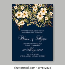 Hibiscus, anemone, poinsettia, peony Tropical Flower Wedding Invitation. Winter floral bridal shower invitation card template.