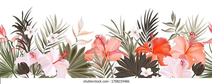 Hibiscus botanic seamless horisontal border banner,  exotic flowers and leaves, vector hand drawn background. Floral realistic pattern, summer arrangements with tropical leaf nature