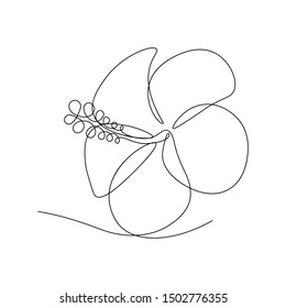 Hibiscus flower in continuous line art drawing style. Minimalist black line sketch on white background. Vector illustration