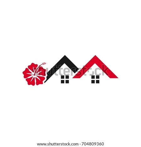 Hibiscus Flower Home Symbol Vector Logo Stock Vector Royalty Free