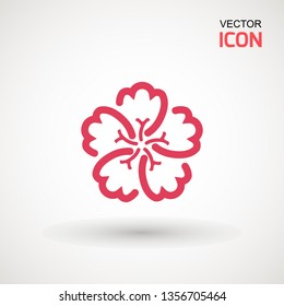 Hibiscus flower, icon. Hibiscus icon isolated on white background. Vector art