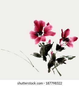 Hibiscus flower. Ink painting, watercolor. Vector