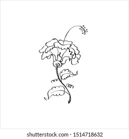 Hibiscus Flower Ink Pen Sketch, Ornamental Vector Art Illustration