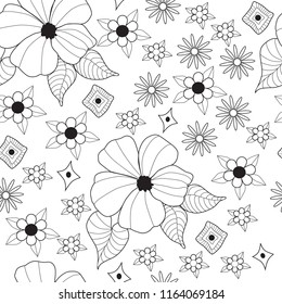 hibiscus flower line on white background seamless pattern
