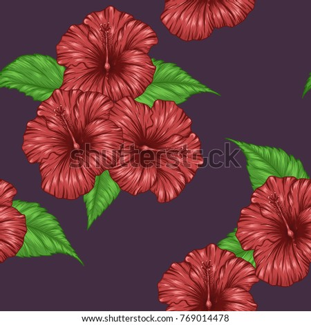Hibiscus Flower Pattern By Hand Drawing Tattoo Stock Vector Royalty