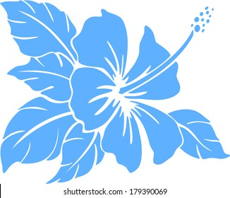 Hibiscus flower silhouette on a white background
