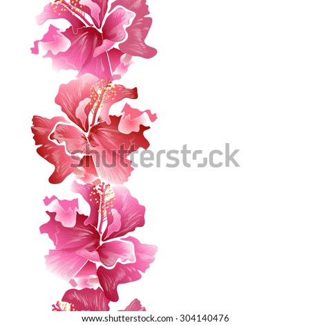 Hibiscus Flower Surfing Tropical Symbol Vector Stock Vector Royalty