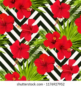 Hibiscus flower vector seamless pattern on a abstract chevron background flowered tropical texture