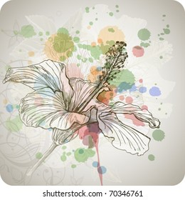 Hibiscus flower & watercolor background,  stylized orchid flowers - vector color paint