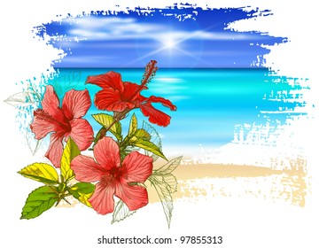 Hibiscus flowers, azure ocean, blue sky with white fluffy clouds, white sand deserted tropical beach - vector illustration / eps10
