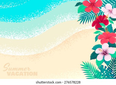 Hibiscus flowers, palm leaves, tropical beach, seascape background. Retro vector illustration. Place for your text