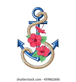 Hibiscus flowers. Pattern anchor. Vector illustration.