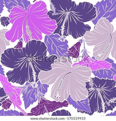 Hibiscus Flowers Purple Violet Colors Watercolor Stock Vector
