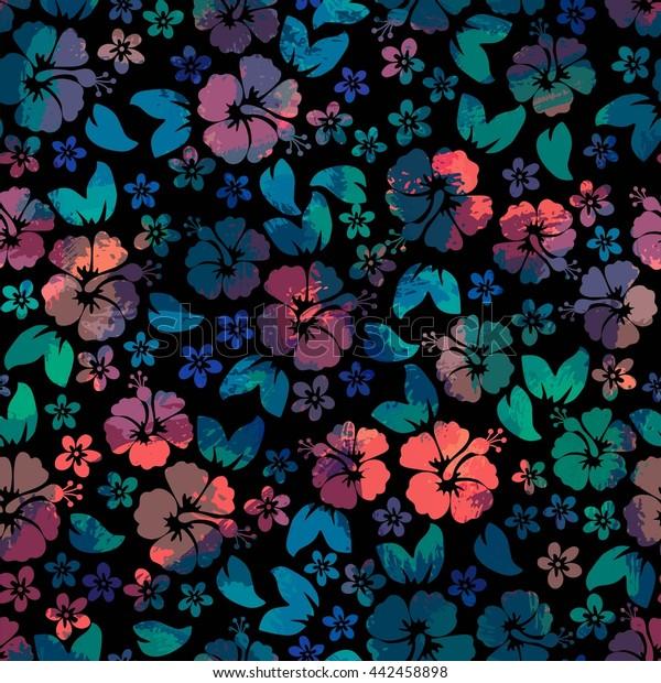 7c76bba192ce Hibiscus flowers seamless pattern. Hawaiian Aloha Shirt Background.