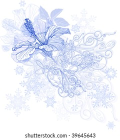 Hibiscus flowers & snowflakes