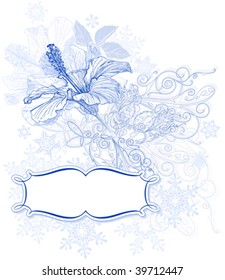 Hibiscus flowers, snowflakes & frame