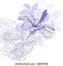 Hibiscus flowers & vintage ornament