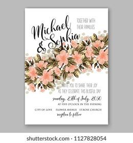 Hibiscus hawaii wedding invitation floral watercolor vector card template aloha luau