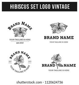 hibiscus logo set flower vintage