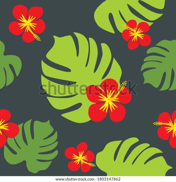 hibiscus-monstera-on-dark-background-600