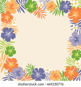 Hibiscus and palm leaf border frame vector