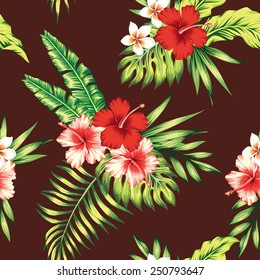 hibiscus and palm leaves tropical seamless background