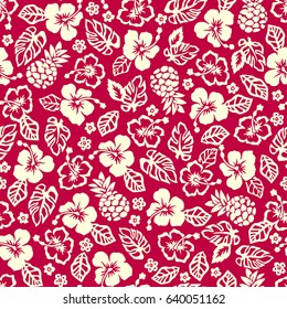 Hibiscus and pineapple pattern
