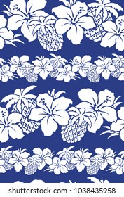 Hibiscus and pineapple pattern, I drew Hibiscus for designing it, This painting continues repeatedly,