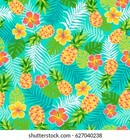 Hibiscus, pineapple and tropical leaf seamless pattern background