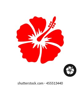 Hibiscus red flower illustration. Tropical flower silhouette.
