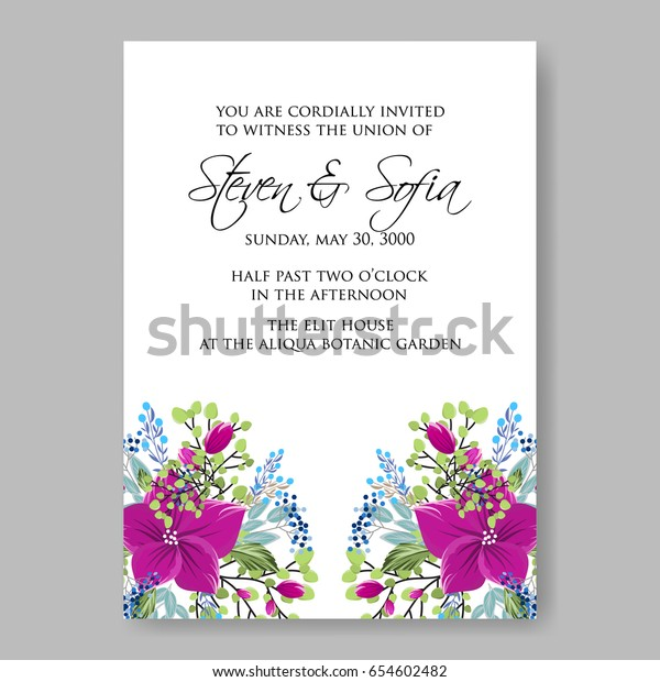 Hibiscus Rose Floral Wedding Invitation Template Stock Vector ...